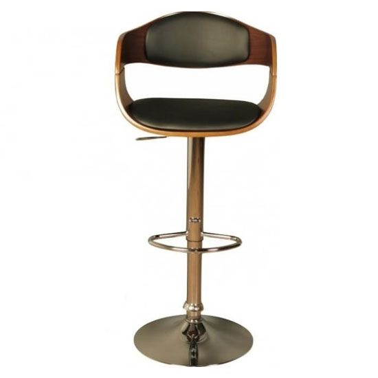 Anna Faux Leather Bar Stool In Walnut With Chrome Base