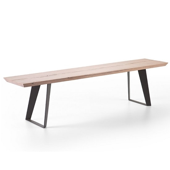Annecy Wooden 200cm Rectangular Dining Bench With Metal Legs