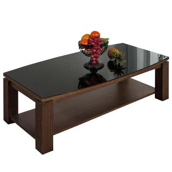 Anneli Glass Coffee Table In Walnut And Black High Gloss