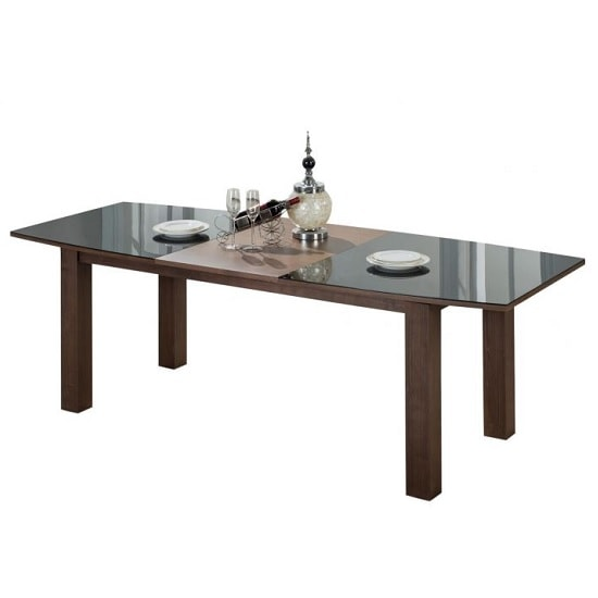 Anneli Extendable Glass Dining Table In Walnut Black High Gloss