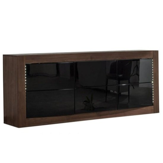 Anneli Sideboard In Walnut And Black High Gloss With LED