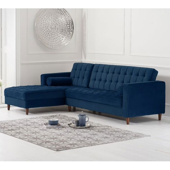 View Anneliese velvet left facing corner chaise sofa in blue
