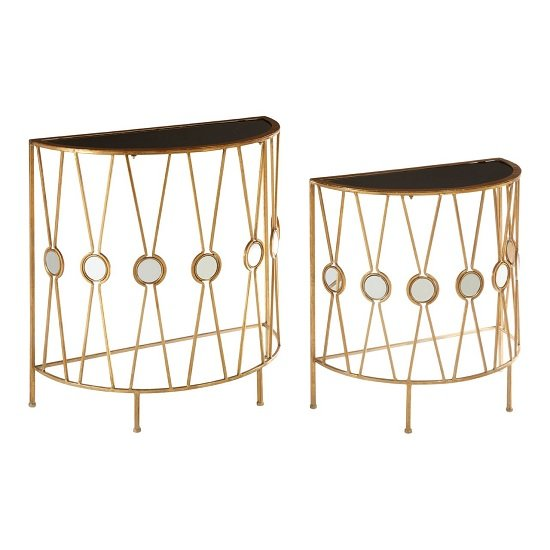 View Annie set of 2 glass console tables in black with gold