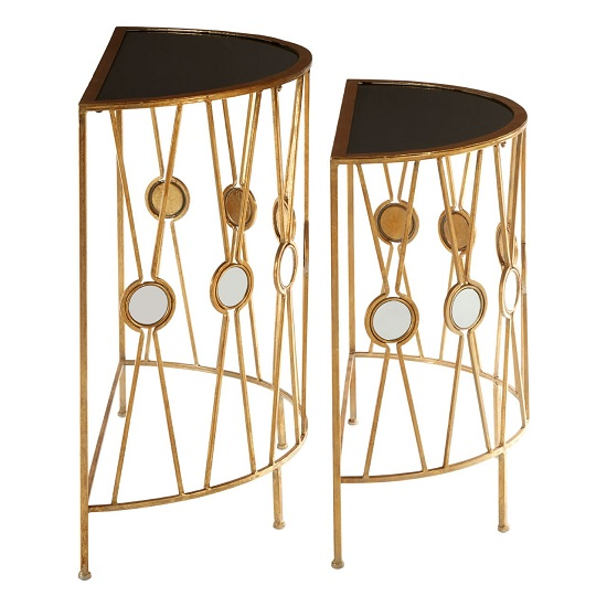 Annie Set Of 2 Glass Console Tables In Black With Gold_2
