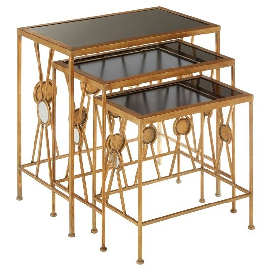Annie Set Of 3 Glass Nest Of Tables In Black With Gold