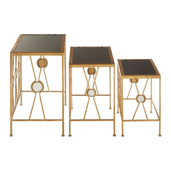 Annie Set Of 3 Glass Nest Of Tables In Black With Gold_2