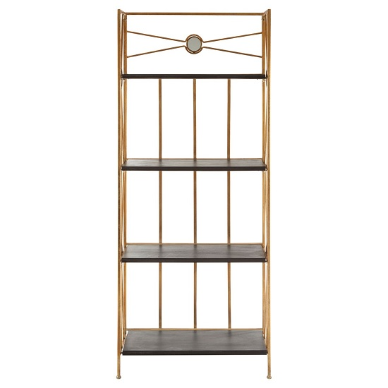 Annie 4 Tier X-Design Folding Shelving Unit In Black And Gold_2