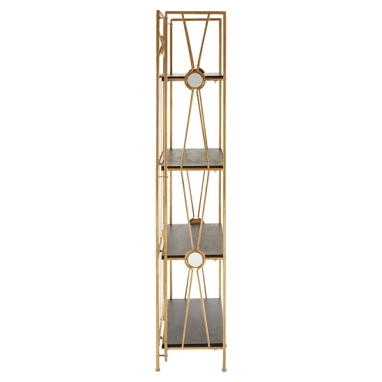 Annie 4 Tier X-Design Folding Shelving Unit In Black And Gold_3