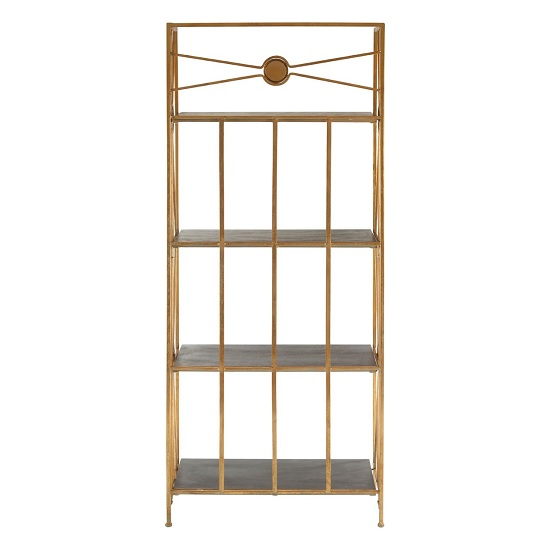 Annie 4 Tier X-Design Folding Shelving Unit In Black And Gold_4
