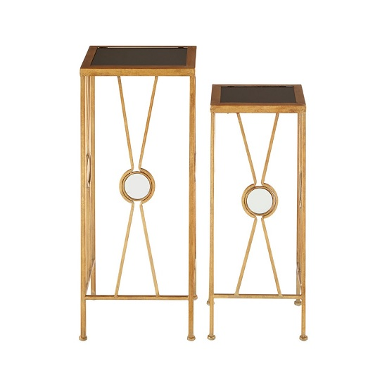 Annie X Design Set Of 2 Glass Plant Stands In Black And Gold_2