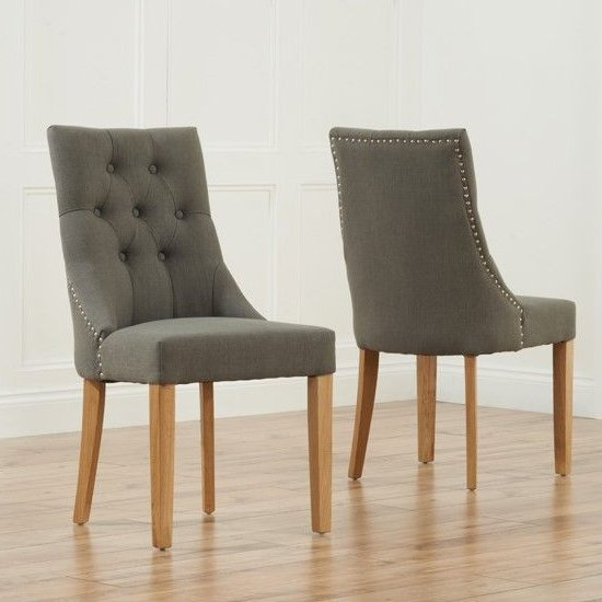 Anser Grey Dining Chairs In Pair With Solid Oak Legs