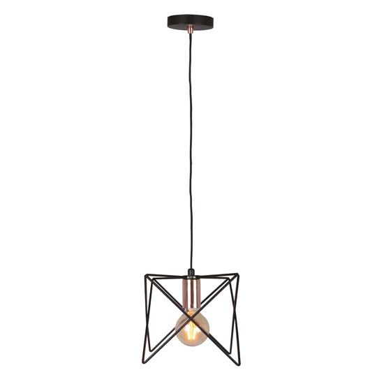 Anthea 1 Metal Black Frame Pendant Light With Copper Detail