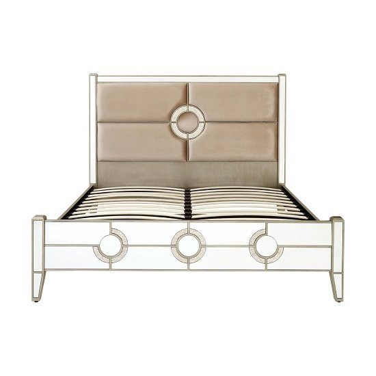 Antibes King Size Bed In Fabric And Mirrored Glass Frame