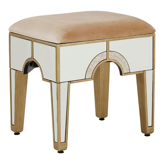 Antibes Mirrored Glass Stool In Champagne Fabric