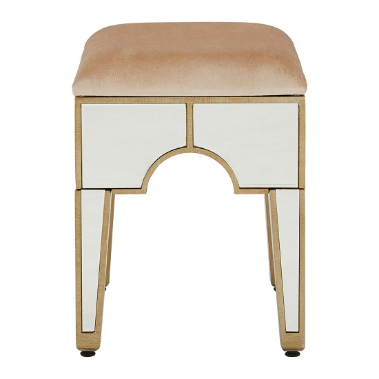 Antibes Mirrored Glass Stool In Champagne Fabric_2