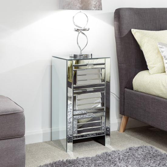 Antigais Mirrored Louvered Bedside Cabinet With 3 Drawers