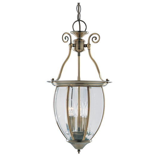 Antique Brass 3 Light Lantern With Curved Glass Panels