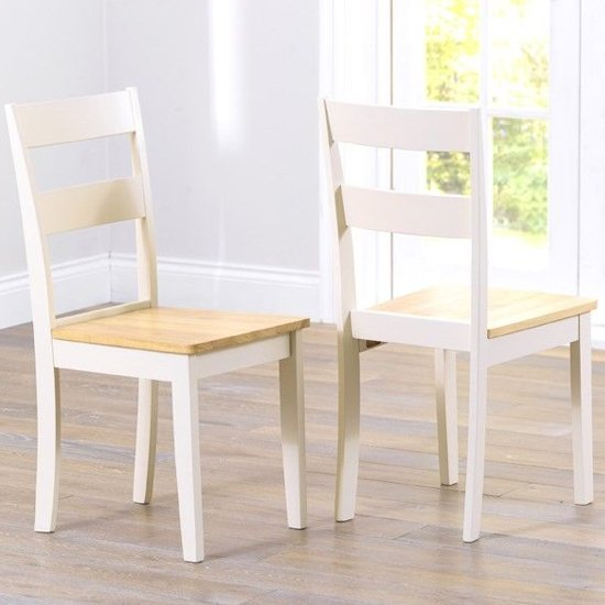 Antlia Oak And Cream Wooden Dining Chairs In Pair