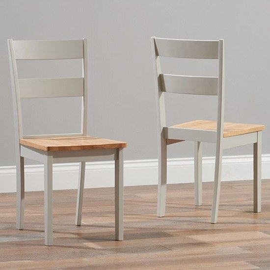 Antlia Oak And Grey Wooden Dining Chairs In Pair
