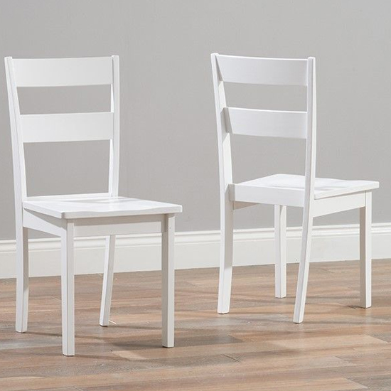 Ankila White Wooden Dining Chairs In Pair