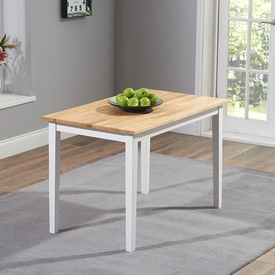 Ankila Wooden Dining Table In Oak And White