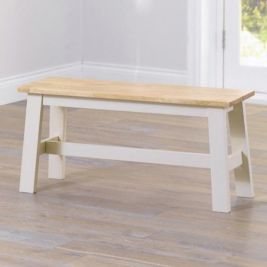 Antlia Wooden Small Dining Bench In Oak And Cream_1