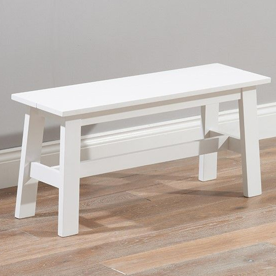 Ankila Wooden Small Dining Bench In White_1