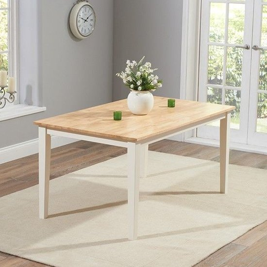 Antlia Wooden Wide Dining Table In Oak And Cream