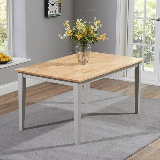 Antlia Wooden Wide Dining Table In Oak And Grey