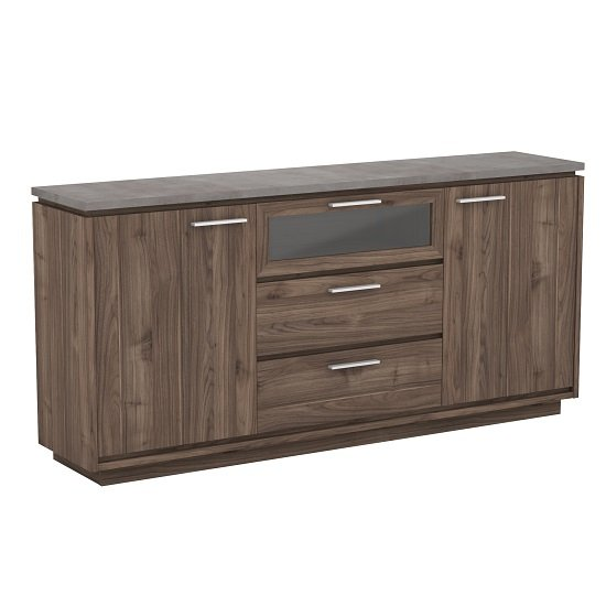 Antox Wooden Sideboard In Walnut And Light Concrete With 2 Doors