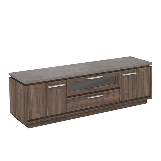 Antox Wooden TV Stand In Walnut And Light Concrete With 2 Doors