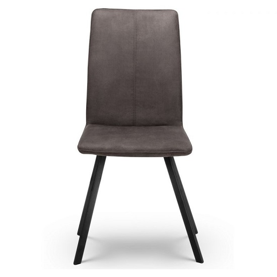 Anya Fabric Dining Chairs In Charcoal Grey Suede In A Pair_2