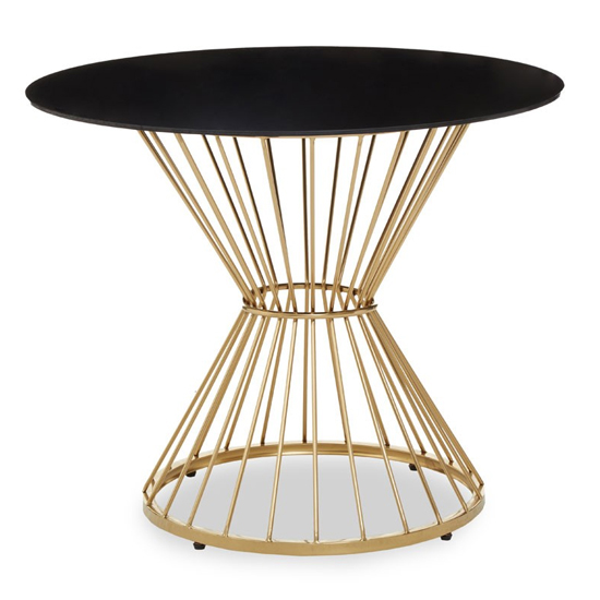 View Anza black glass top side table with gold metal frame