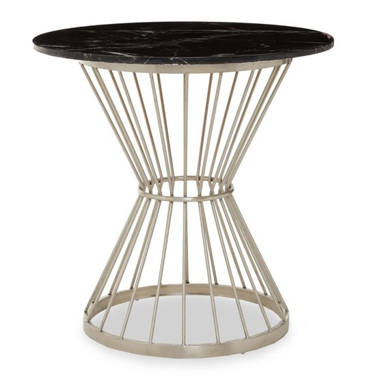 View Anza black marble top side table with silver metal frame