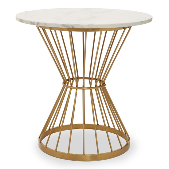 View Anza white marble top side table with gold metal frame