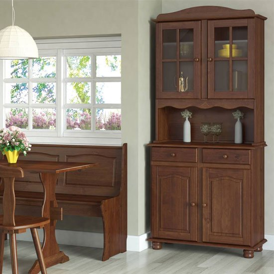 Aosta Wooden 4 Doors Display Cabinet In Pine Mocha With 2 Drawer_2