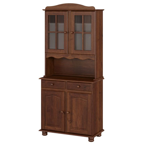 Aosta Wooden 4 Doors Display Cabinet In Pine Mocha With 2 Drawer