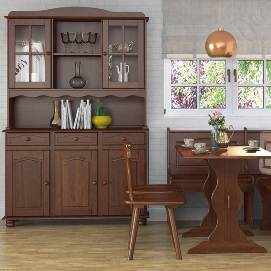 Aosta Wooden 5 Doors Display Cabinet In Pine Mocha With 3 Drawer_2