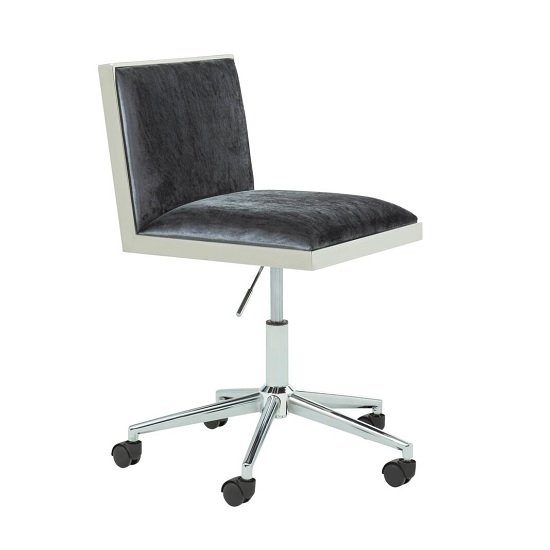 Apex Office Chair In Charcoal Velvet With Stainless Steel Frame