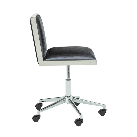 Apex Office Chair In Charcoal Velvet With Stainless Steel Frame_3