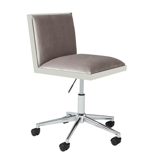 Apex Office Chair In Grey Velvet With Stainless Steel Frame