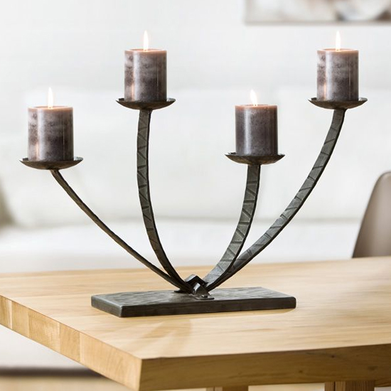 Apollo Iron 4 Flame Candleholder In Antique Black