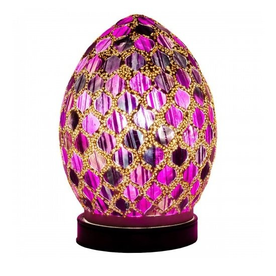 Apollo Mini Mosaic Glass Egg Table Lamp In Purple Tile
