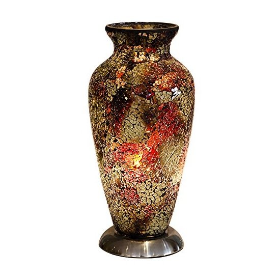 Apollo Mosaic Glass Vase Table Lamp In Amber
