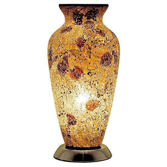 Apollo Mosaic Glass Vase Table Lamp In Autumn Gold