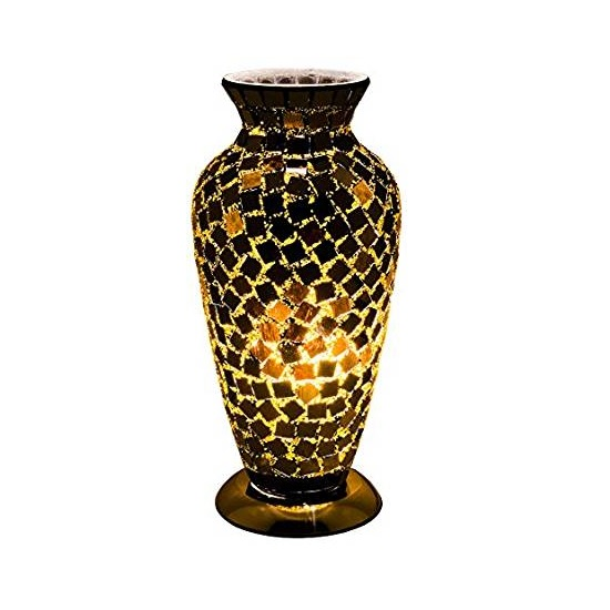 Apollo Mosaic Glass Vase Table Lamp In Black Tile