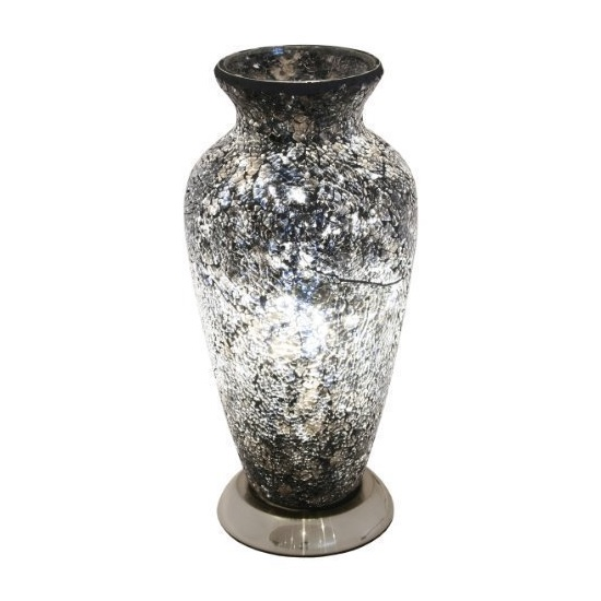 Apollo Mosaic Glass Vase Table Lamp In Black