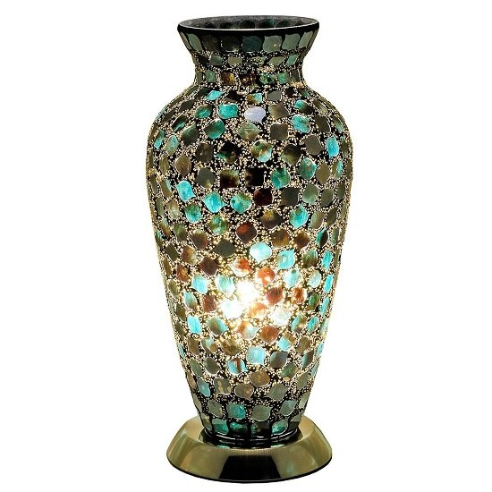 Product photograph showing Apollo Mosaic Glass Vase Table Lamp In Green