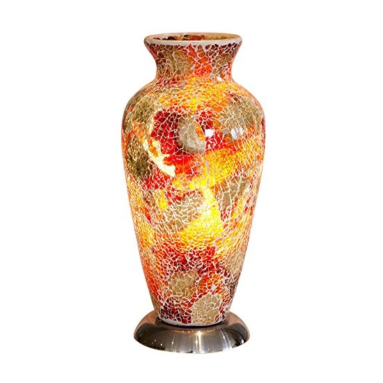 Product photograph showing Apollo Mosaic Glass Vase Table Lamp In Red