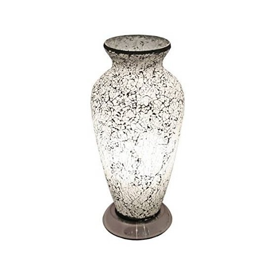 Apollo Mosaic Glass Vase Table Lamp In White